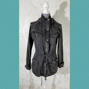 Talula Gray Full Zip Cinched Waist Trooper Jacket